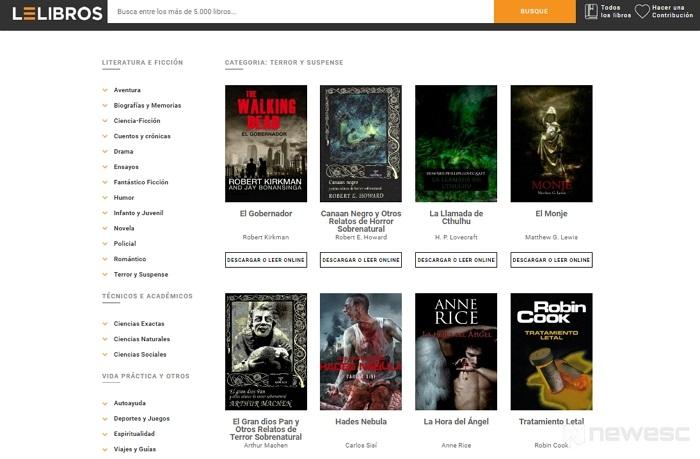 LeLibros página descargar libros ePub