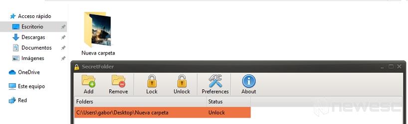Liberar carpeta en Secret Folder