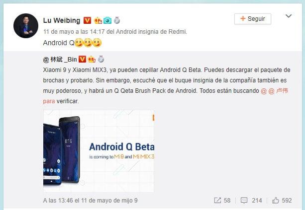 Lu Wibing Redmi Flagship Android Q