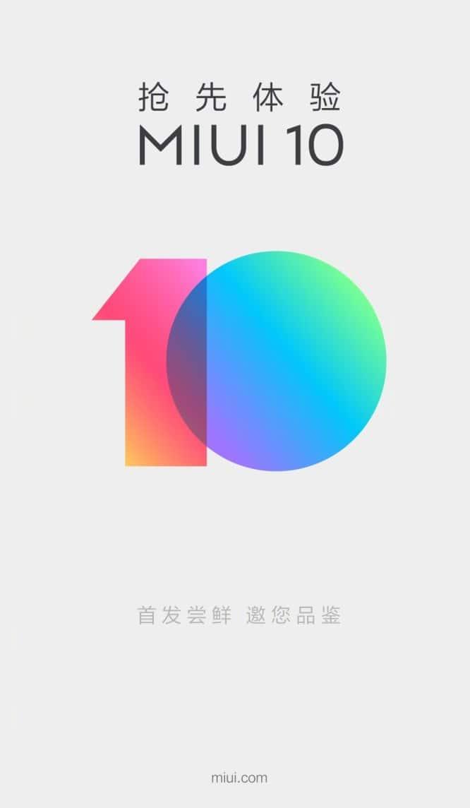 MIUI 10 inscripción