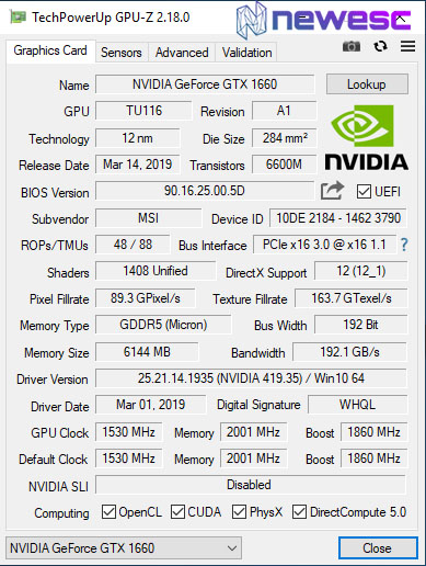 MSI GTX 1660 GAMING X