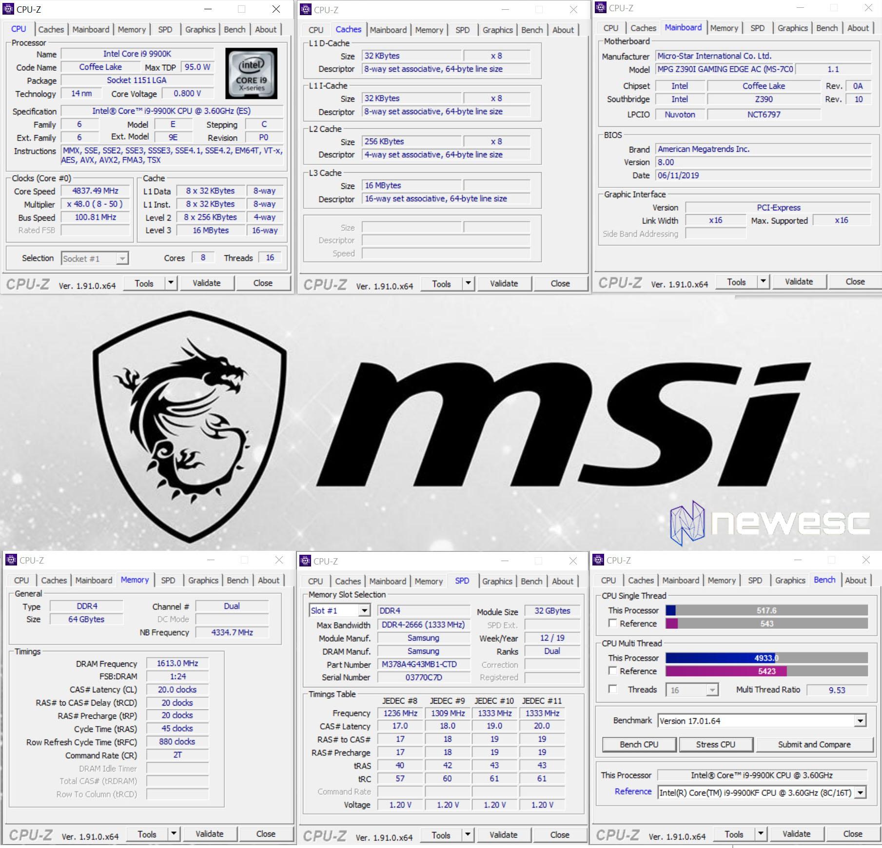 MSI PRESTIGE P100 CPU Z
