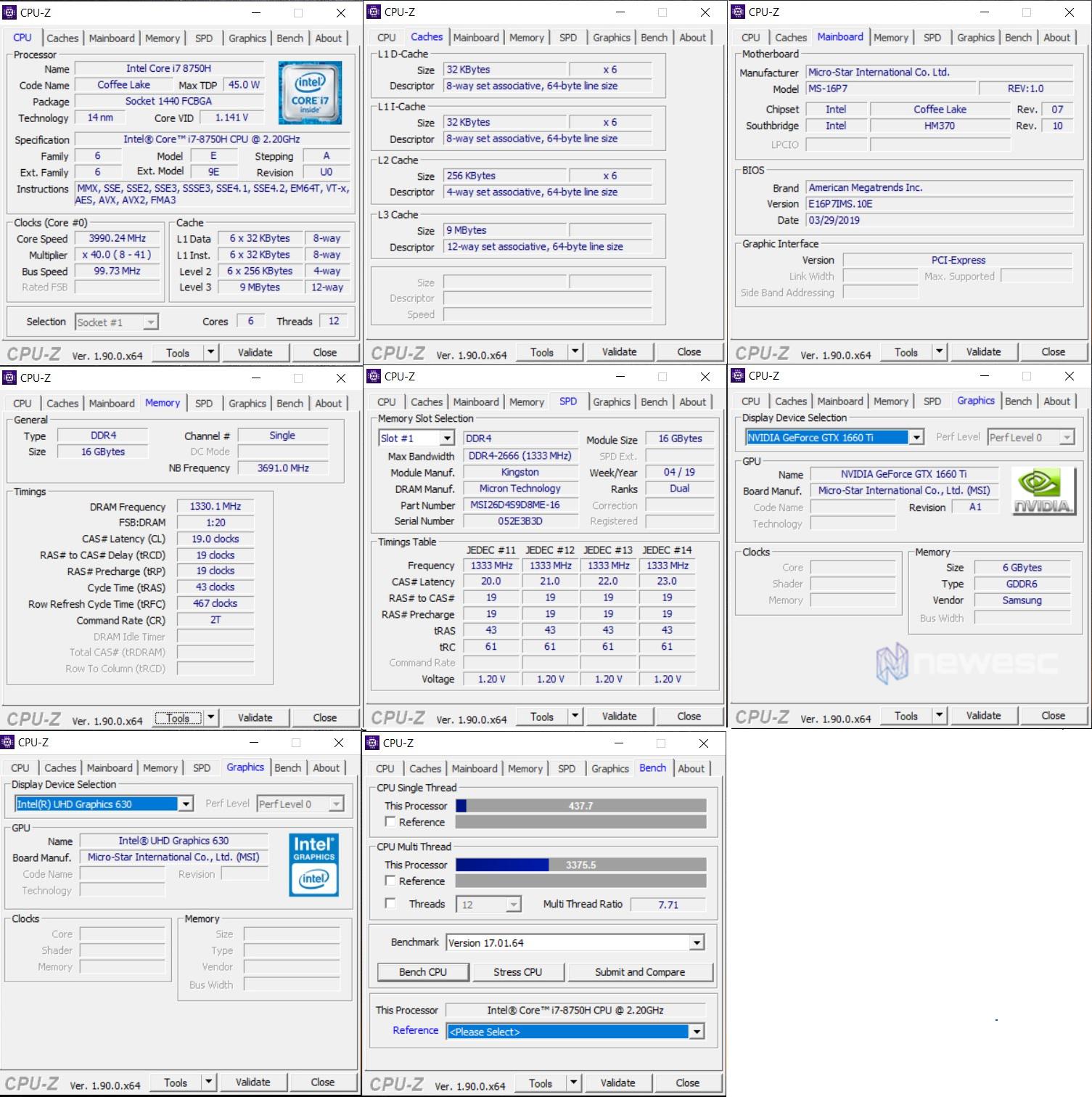 MSI GL63 8SD CPUZ