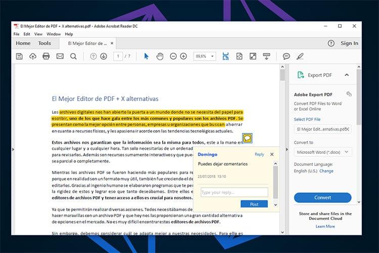 Mejor Editor PDF Adobe Reader