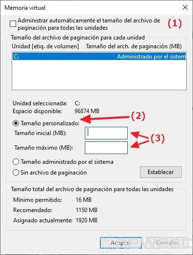 Mejorar rendimiento del PC memoria virtual 2