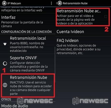 Menú de Ip Webcam Configuración De Conexión 1