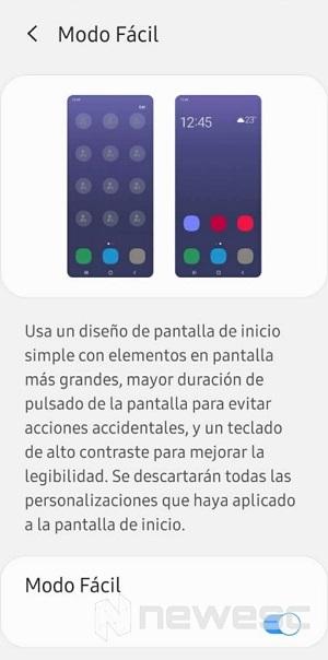 Modo fácil en móviles para mayores