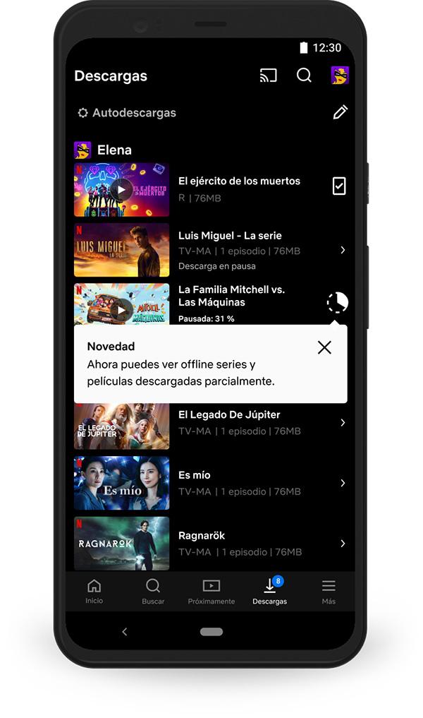 Netflix Móvil Descarga casi completa