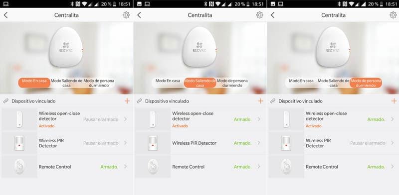 NewEsc Review Alarm Starter Kit y Camara C6T EZVIZ modos de armado alarmas