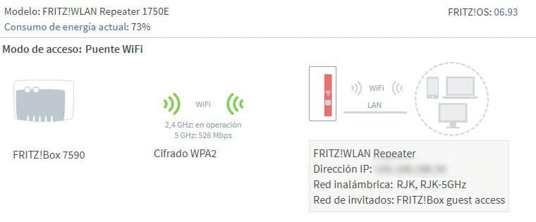 NewEsc review Fritz WLAN Repeater 1750E menú General