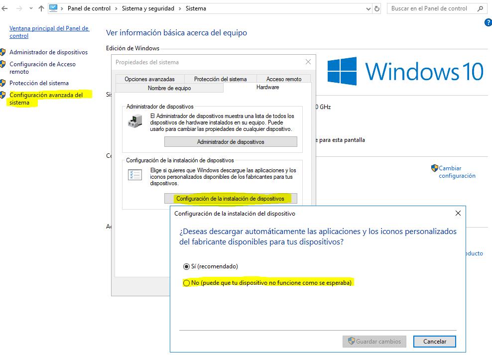 No funciona la barra de tareas en Windows 10 - Problema con los controladores