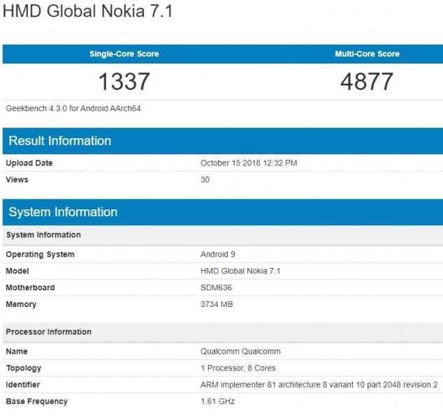 Especificaciones Nokia 7.1