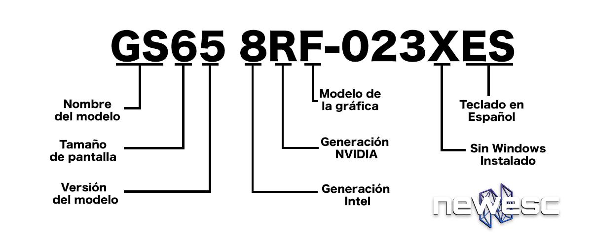 Nomenclatura portátiles MSI GS