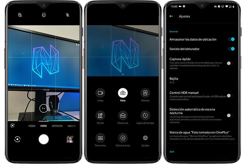 OnePlus 6T menú de cámara