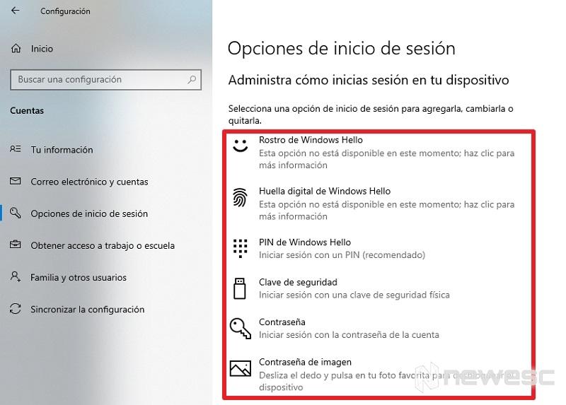 Opciones inicio de sesión Windows 10