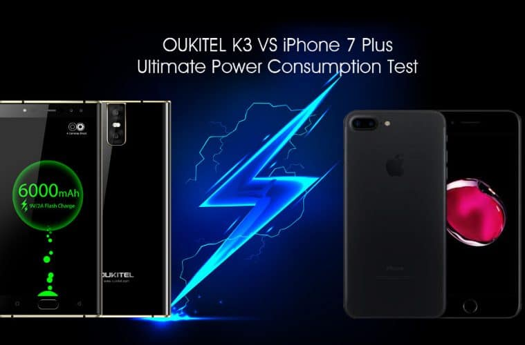 Oukitel K3 vs iPhone 7 Plus Test de batería