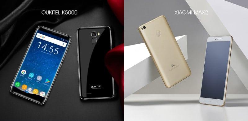 Oukitel K5000 vs Xiaomi Max 2 diseño