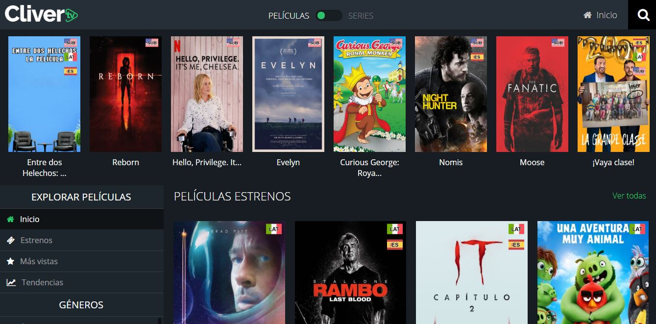 Páginas para ver Películas Online CliverJPG