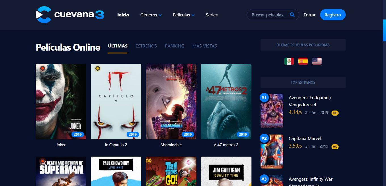 Páginas para ver Películas Online Cuevana3