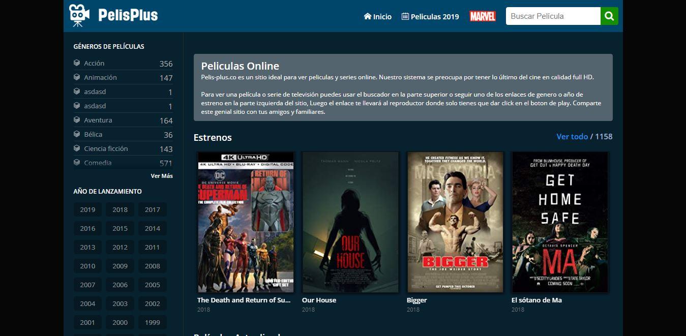Páginas para ver Películas Online PeliPlus