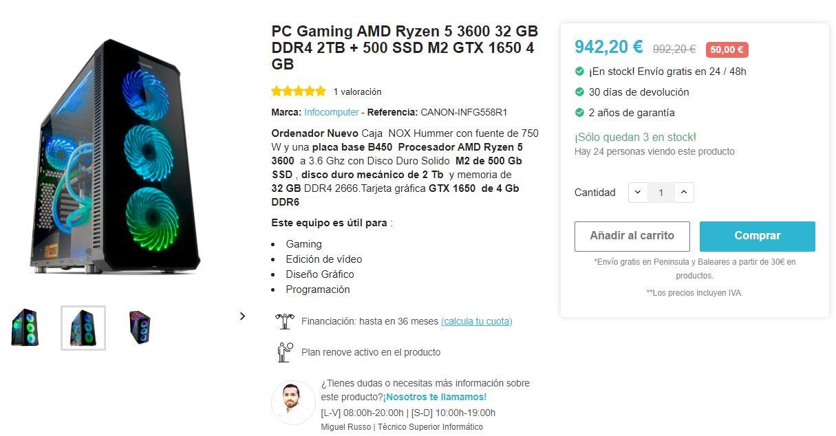 PC Ryzen 5 3600 32GB de RAM GTX 1650