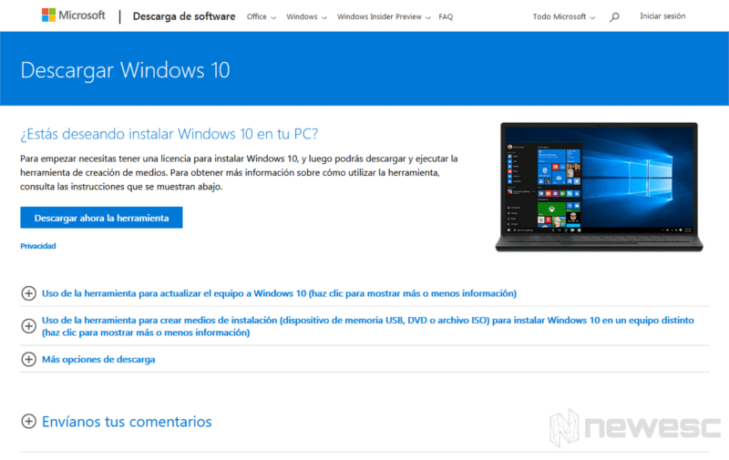 Pagina de descarga de Windows 10