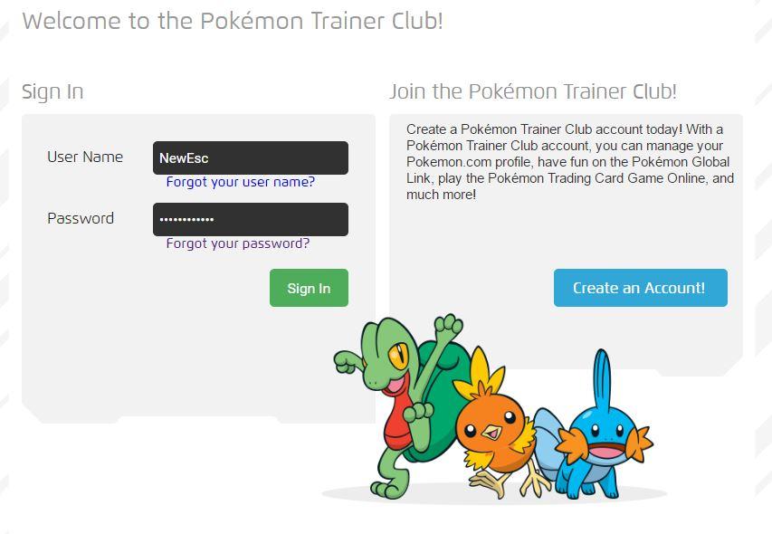 Pokémon GO create account