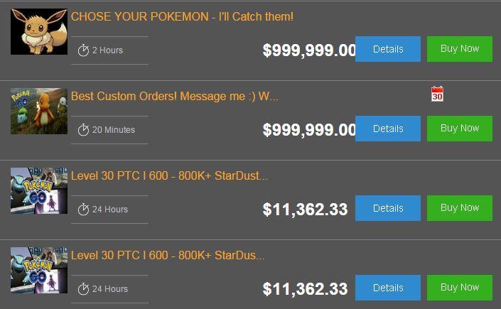 Pokemon GO mercado negro
