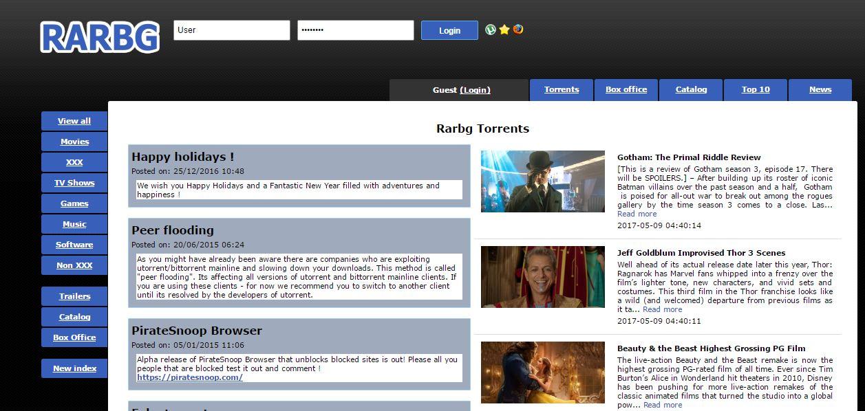 RARBG paginas de torrents