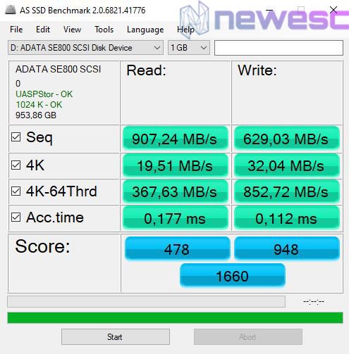 REVIEW ADATA SSD SE800 AS SSD BENCHMARK