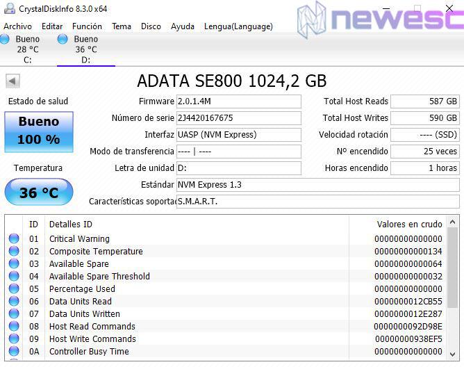 REVIEW ADATA SSD SE800 CRISTALDISKINFO