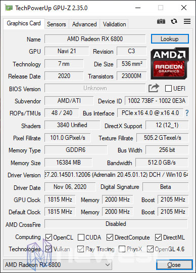 REVIEW AMD RADEON RX 6800 GPUZ