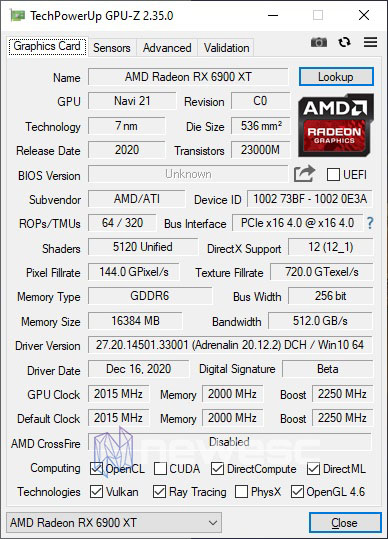 REVIEW AMD RADEON RX 6900XT GPUZ