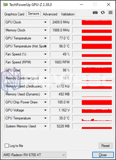 REVIEW AMD RX 6700 XT GPUZ STOCK