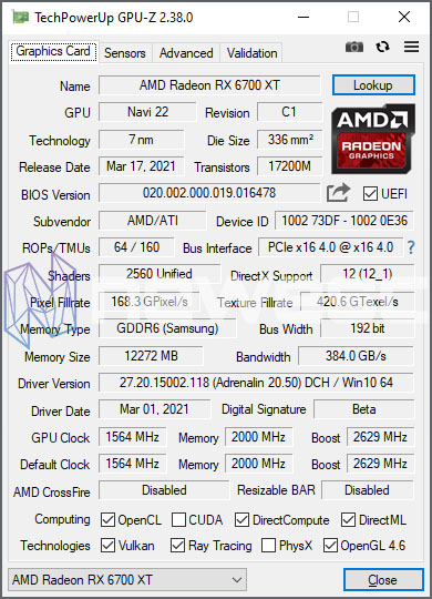 REVIEW AMD RX 6700 XT GPUZ