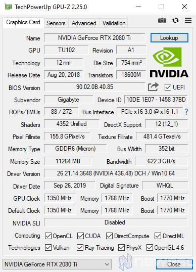 REVIEW AORUS RTX 2080 TI EXTREME GPUZ