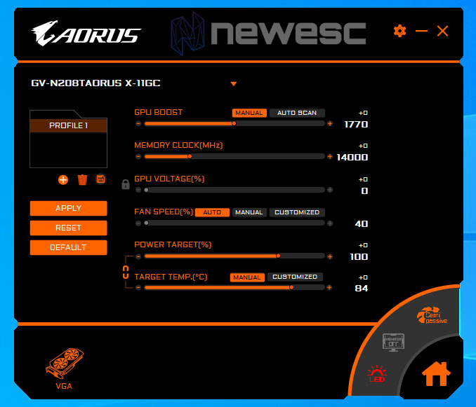 REVIEW AORUS RTX 2080 TI EXTREME SOFTWARE