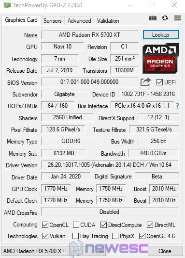 REVIEW AORUS RX 5700 XT GPUZ