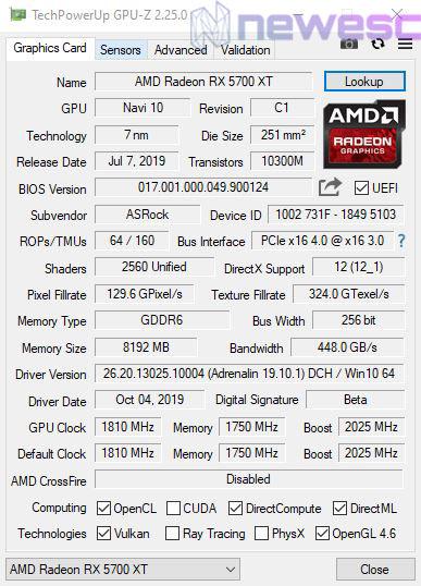REVIEW ASROCK 5700 XT TAICHI GPUZ