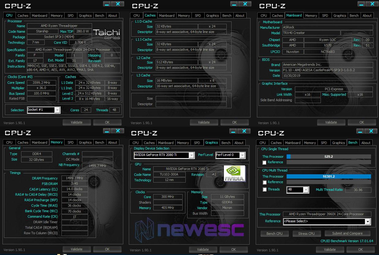 REVIEW ASROCK TRX40 CREATOR CPUZ