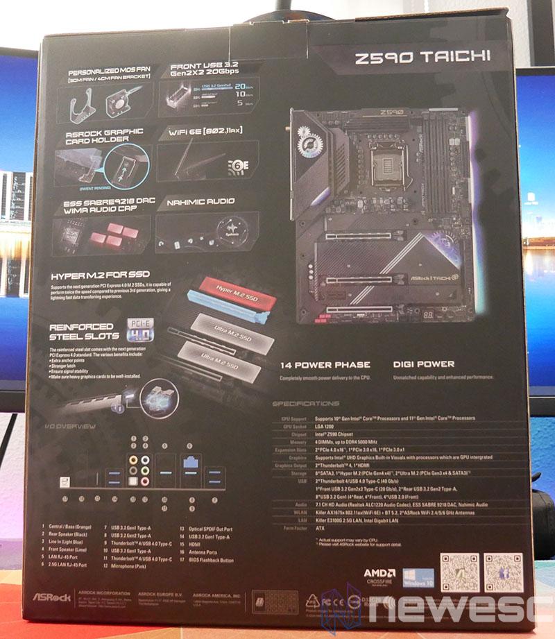 REVIEW ASROCK Z590 TAICHI CAJA DETRAS