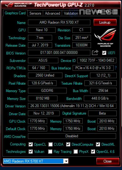 REVIEW ASUS 5700 XT STRIX GPUZ