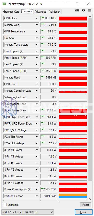 REVIEW ASUS ROG STRIX GAMING RTX 3070Ti OC GPUZ OC