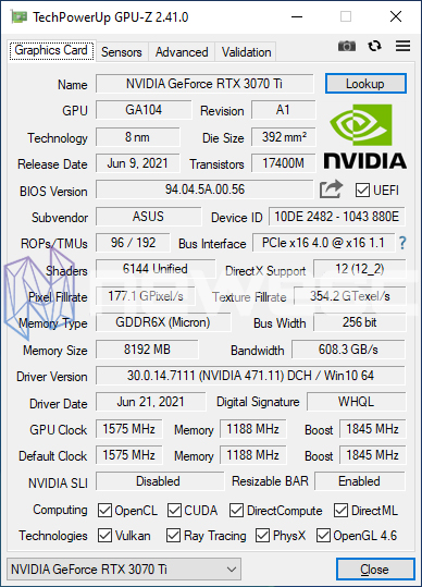 REVIEW ASUS ROG STRIX GAMING RTX 3070Ti OC GPUZ