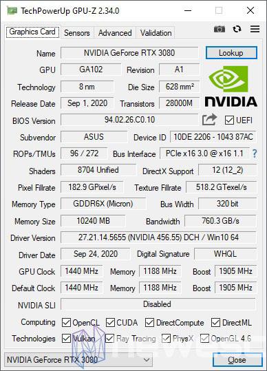 REVIEW ASUS ROG STRIX GAMING RTX 3080 OC GPUZ