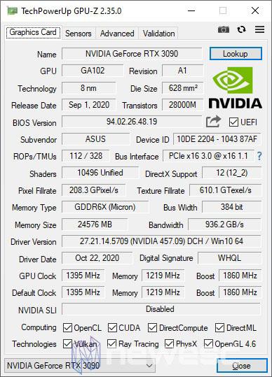 REVIEW ASUS ROG STRIX GAMING RTX 3090 OC GPUZ