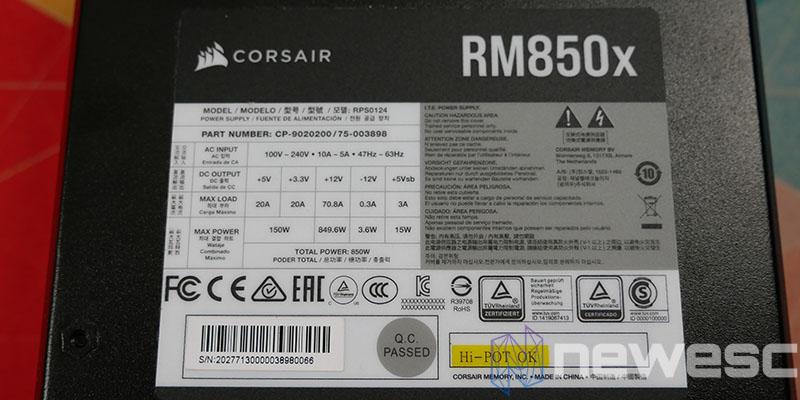 REVIEW CORSAIR RM850X INTERNA
