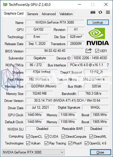 REVIEW GIGABYTE AORUS RTX 3080 XTREME 10G GPUZ