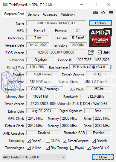 REVIEW GIGABYTE AORUS RX 6800 XT GAMING OC GPUZ
