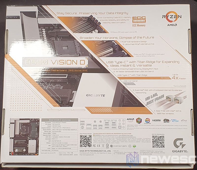 REVIEW GIGABYTE B550 VISION D CAJA DETRAS